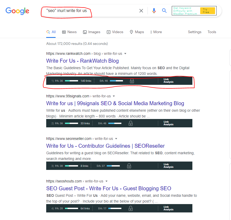 guest blogging by google search